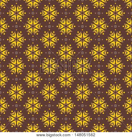 Abstract yellow flowers with brown and golden colors. Seamless vector pattern for fabrics wallpapers etc.