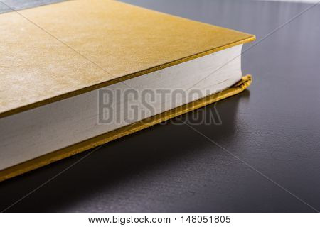 Yellow Blank Hard Cover Paper Front Book Pages Black Desk