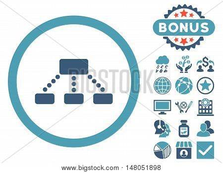 Hierarchy icon with bonus pictures. Vector illustration style is flat iconic bicolor symbols, cyan and blue colors, white background.