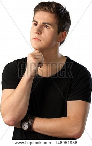 Portrait of Young Thinking Man with Hand on Chin, Isolated