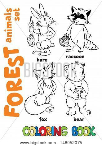 Coloring book set of funny fox, hare, bear and raccoon. Children vector illustration. Forest animals