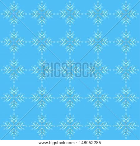 Seamless pattern with snowflake on blue background.
