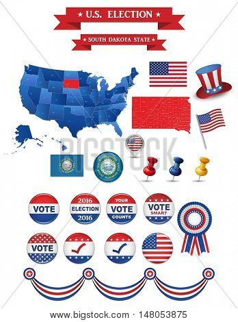 Presidential Election 2016. South Dakota. Including High Detailed Map of South Dakota. Perfect for Election Campaign
