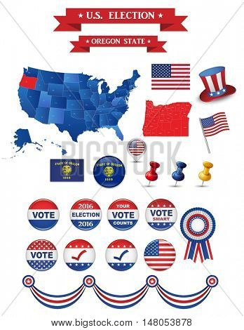 US Presidential Election 2016. Oregon State. Including High Detailed Map of Oregon Perfect for Election Campaign