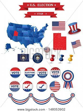 Presidential Election 2016. Utah  State. Including High Detailed Map of Utah Perfect for Election Campaign