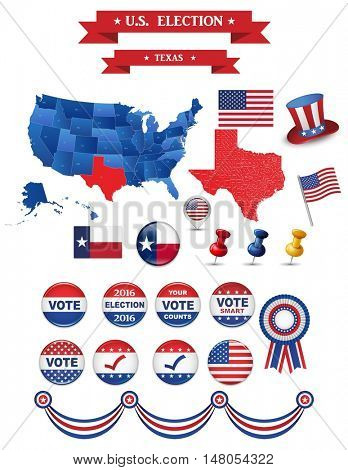 Presidential Election 2016. Texas State. Including High Detailed Map of Texas Perfect for Election Campaign