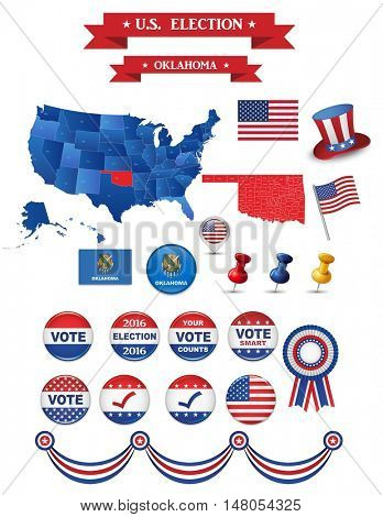 US Presidential Election 2016. Oklahoma State Including High Detailed Map of Oklahoma Perfect for Election Campaign