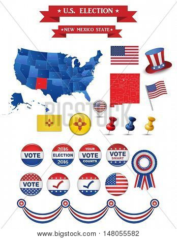 US Presidential Election 2016. New Mexico State. Including High Detailed Map of New Mexico. Perfect for Election Campaign.