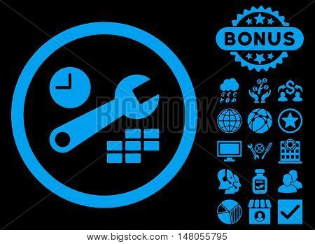 Date and Time Configuration icon with bonus symbols. Vector illustration style is flat iconic symbols blue color black background.