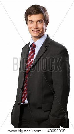 Smiling Businessman Standing with Hands in Pockets - Isolated