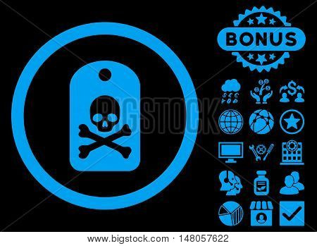 Death Sticker icon with bonus pictures. Vector illustration style is flat iconic symbols, blue color, black background.