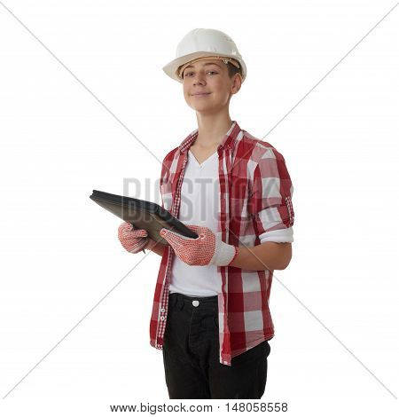 Cute teenager boy in red checkered shirt, building helmet and folder over white isolated background, half body, constructing concept