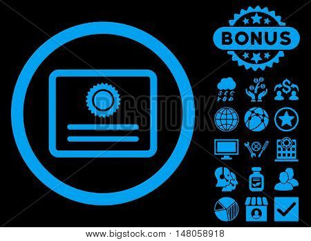 Diploma icon with bonus design elements. Vector illustration style is flat iconic symbols, blue color, black background.