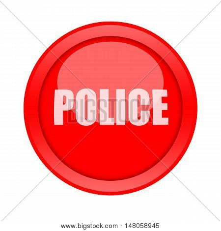 Police call big red button isolated on white background