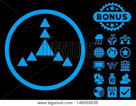 Direction Triangles icon with bonus elements. Vector illustration style is flat iconic symbols, blue color, black background.