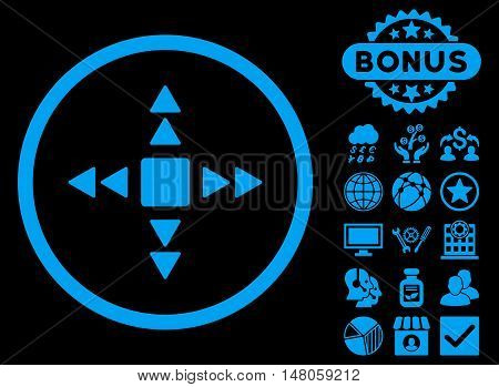 Direction Triangles icon with bonus pictogram. Vector illustration style is flat iconic symbols, blue color, black background.