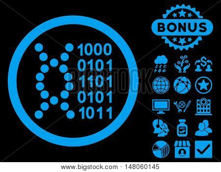 DNA Code icon with bonus pictogram. Vector illustration style is flat iconic symbols, blue color, black background.