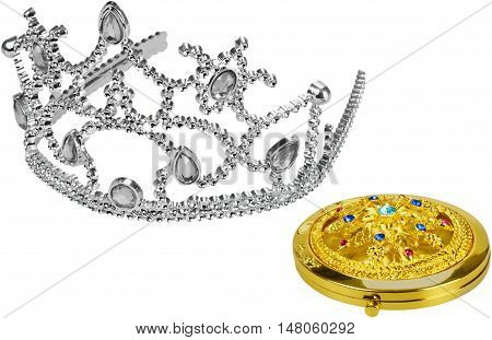 Jewel encrusted locket or compact and a tiara