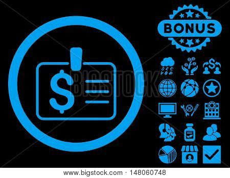 Dollar Badge icon with bonus pictogram. Vector illustration style is flat iconic symbols, blue color, black background.