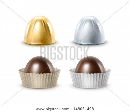 Vector Set of Realistic Dark Black Bitter Chocolate Candies in  Papper Golden Silver Glossy Foil Wrapper Close up Isolated on White Background