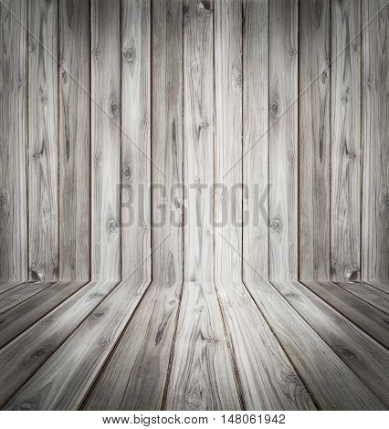 Teak wood plank texture background perspective black and white.