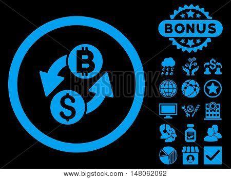 Dollar Bitcoin Exchange icon with bonus symbols. Vector illustration style is flat iconic symbols, blue color, black background.