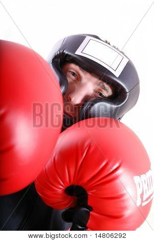 boxeador con boing rojo glowes