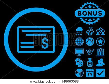 Dollar Cheque icon with bonus symbols. Vector illustration style is flat iconic symbols, blue color, black background.