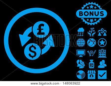 Dollar Pound Exchange icon with bonus pictogram. Vector illustration style is flat iconic symbols, blue color, black background.