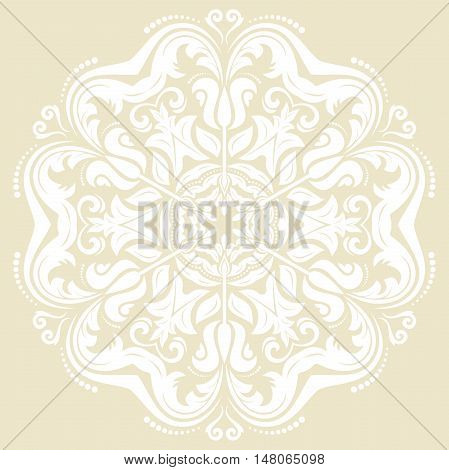 Oriental pattern with arabesques and floral elements. Traditional classic ornament. Light round pattern