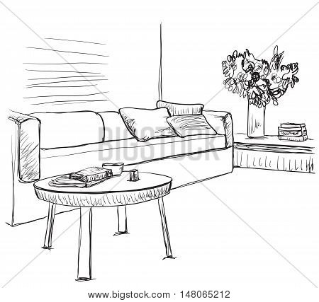 Room interior sketch. Hand drawn doodles sofa and furniture.