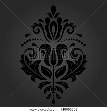 Elegant ornament in the style of barogue. Abstract traditional pattern with oriental elements. dark orient pattern