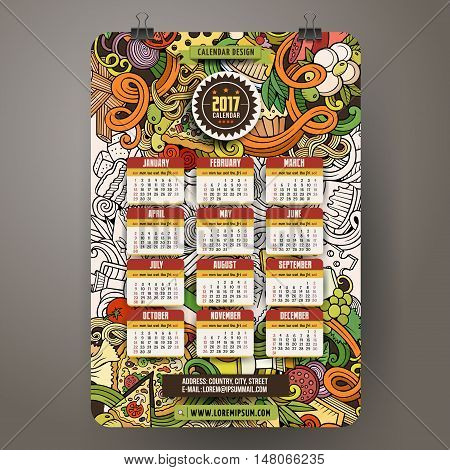 Cartoon colorful hand drawn doodles Italian food 2017 year calendar template. English, Sunday start. Very detailed, with lots of objects illustration. Funny vector artwork