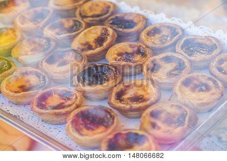 Portuguese Dessert Pasteis De Nata On Showcase