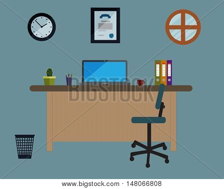 Working place in the office on blue background. Vector illustration. Table, chair, clock, window, diploma. Perfect for advertising, brand sites and magazines