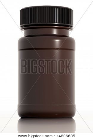 Brown plastic medical bottle