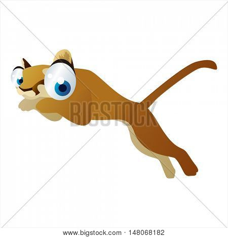 vector funny image of cute bright color animal. Puma