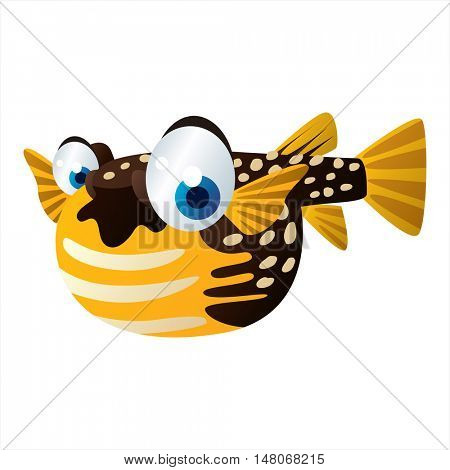 vector funny image of cute bright color underwater sealife animal. Puffer fish