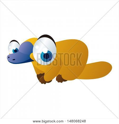 vector funny image of cute bright color animal. Platypus