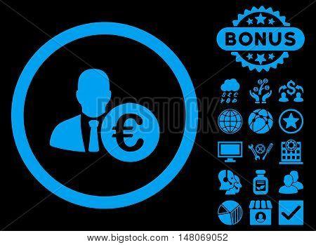 Euro Banker icon with bonus design elements. Vector illustration style is flat iconic symbols, blue color, black background.