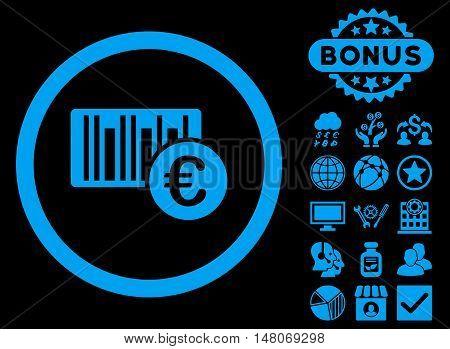 Euro Barcode icon with bonus symbols. Vector illustration style is flat iconic symbols, blue color, black background.