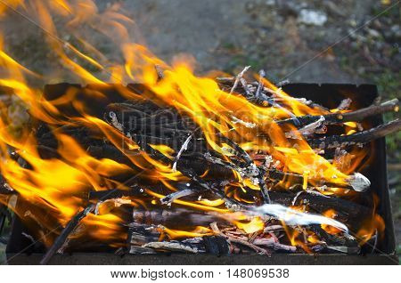 hot and bright fire in a brazier for a shish kebab