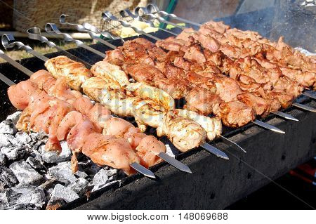 Grilling marinated shashlik on a grill. Shashlik is a form of Shish kebab popular in Eastern Central Europe and other places. Shashlik (meaning skewered meat) was originally made of lamb. Close up