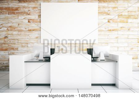 Modern light reception desk with two computer monitors and blank billboard in room with wooden wall and tile floor. Mock up 3D Rendering