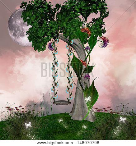 Fantasy swing near an enchanted tree on an hill