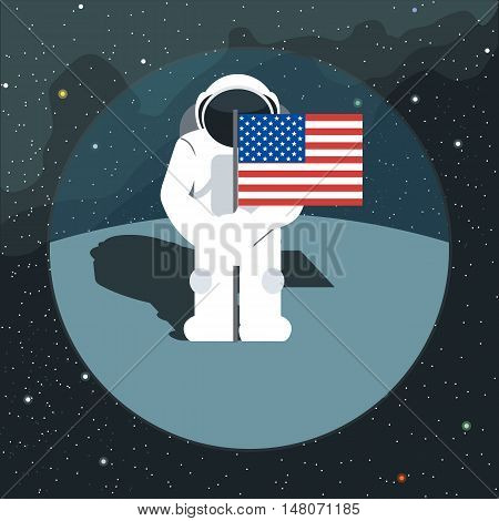 Digital vector with astronaut sign with usa flag in space, over background with stars, flat style