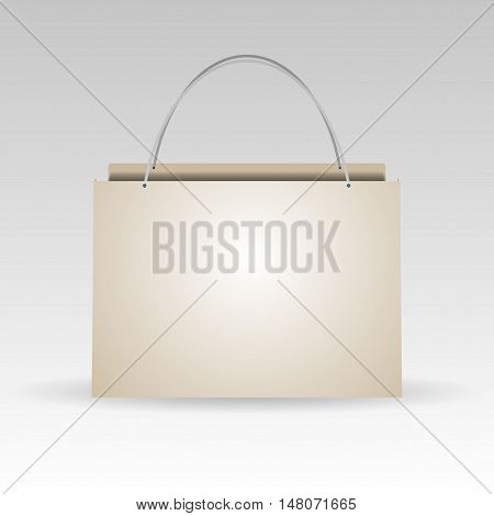 Empty plastic or paper shopping bag on white. vector illustration