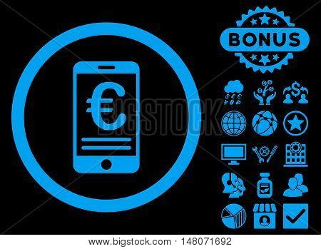 Euro Mobile Bank Account icon with bonus design elements. Vector illustration style is flat iconic symbols blue color black background.