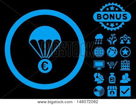 Euro Parachute icon with bonus pictogram. Vector illustration style is flat iconic symbols blue color black background.