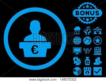 Euro Politician icon with bonus elements. Vector illustration style is flat iconic symbols, blue color, black background.
